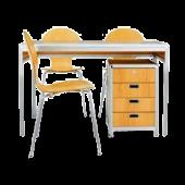 Conjunto Secretária Tom secretária + 3 cadeiras + bloco gavetas