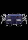 Conjunto Gala mesa redonda com tecido + 8 cadeiras Asta cinza