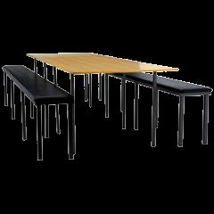Conjunto Convívio 1 mesa + 2 bancos longos