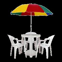 Conjunto Jardim mesa + 3 cadeiras + guarda-sol