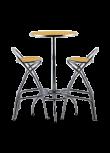 Conjunto Art Deco mesa + 2 bancos altos